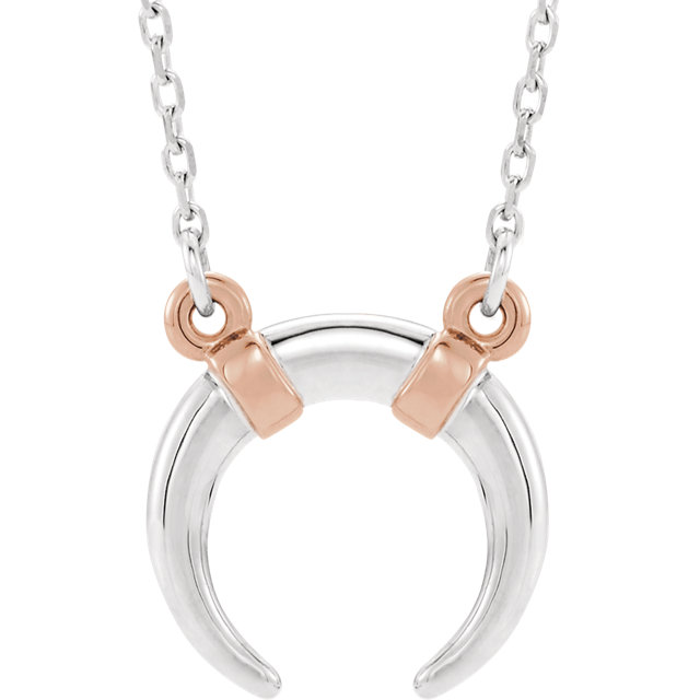 14K White & Rose Crescent 18