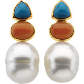 South Sea Cultured Circlé Pearl, Genuine Turquoise & Genuine Pink Coral Earrings
