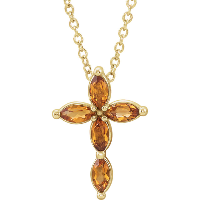 14K Yellow Citrine Cross Necklace