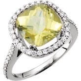 Lemon Quartz & Diamond Halo-Style Ring