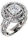 14K White 7x7 mm Cushion 5/8 CTW Diamond Semi-mount Engagement Ring