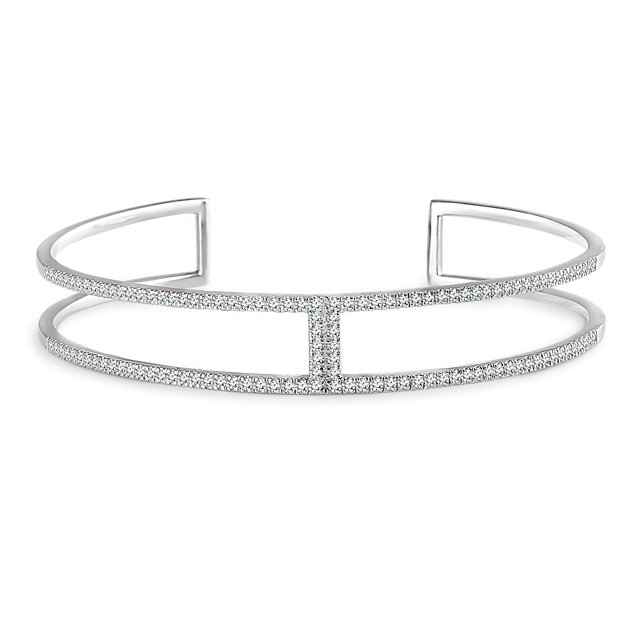 14K White 3/4 CTW Diamond Cuff 6