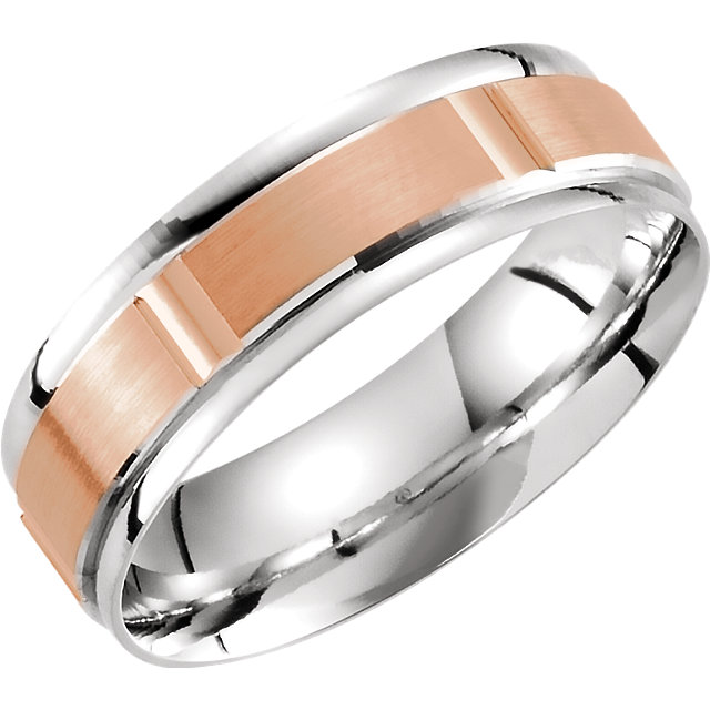 14K White & Rose 6mm Lightweight Grooved Band Size 10