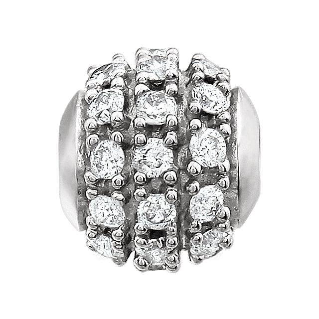14K White .50 CTW Diamond Ball Pendant