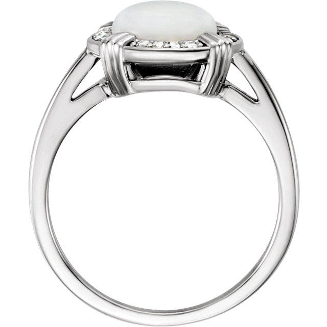 14K White Opal & .08 CTW Diamond Ring