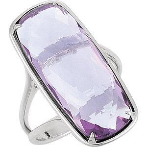 Sterling Silver 25x10mm Rose Quartz Ring