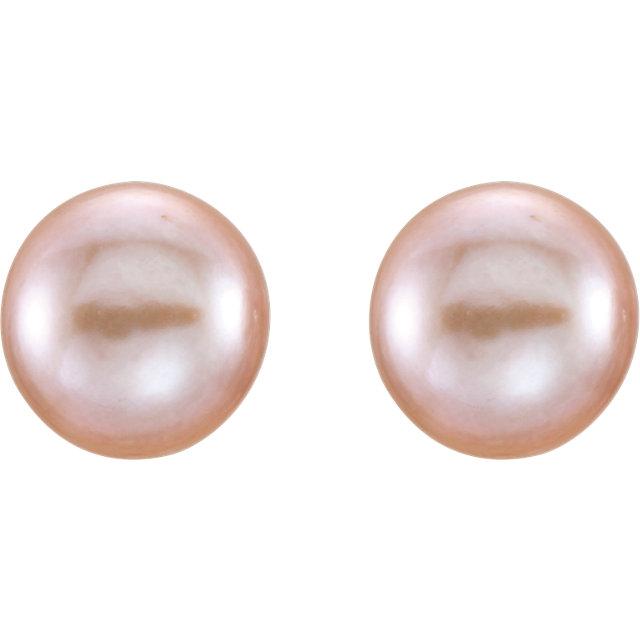 14K Yellow 7-8mm Pink Freshwater Cultured Pearl Earrings