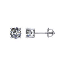 Earrings , 14K White 3/4 CT Diamond Threaded Post Stud Earrings