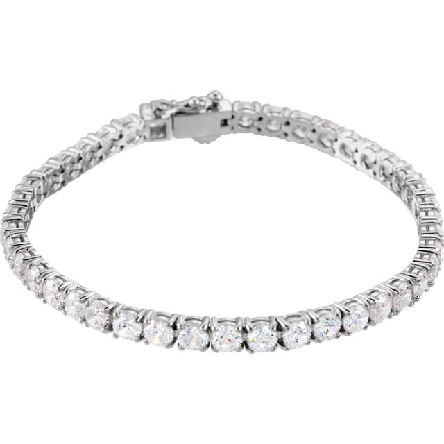Sterling Silver 5mm Round Cubic Zirconia Bracelet