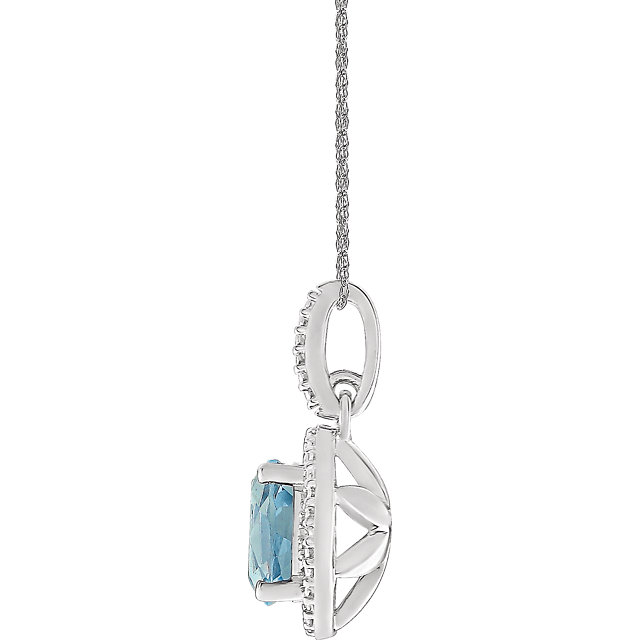 Sterling Silver Sky Blue Topaz & .01 CTW Diamond 18