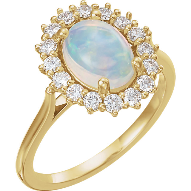 14K White Turquoise & 3/8 CTW Diamond Ring