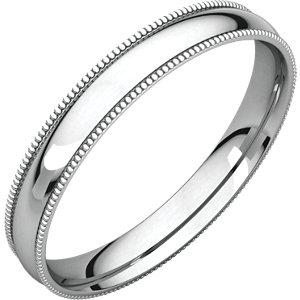 14K White 2.5 mm Milgrain Lightweight Comfort-Fit Band