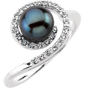 Fashion Rings , Platinum Akoya Cultured Black Pearl & 1/4 CTW Diamond Ring
