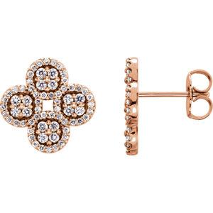 Earrings , 14K Rose 1/2 CTW Diamond Clover Earrings