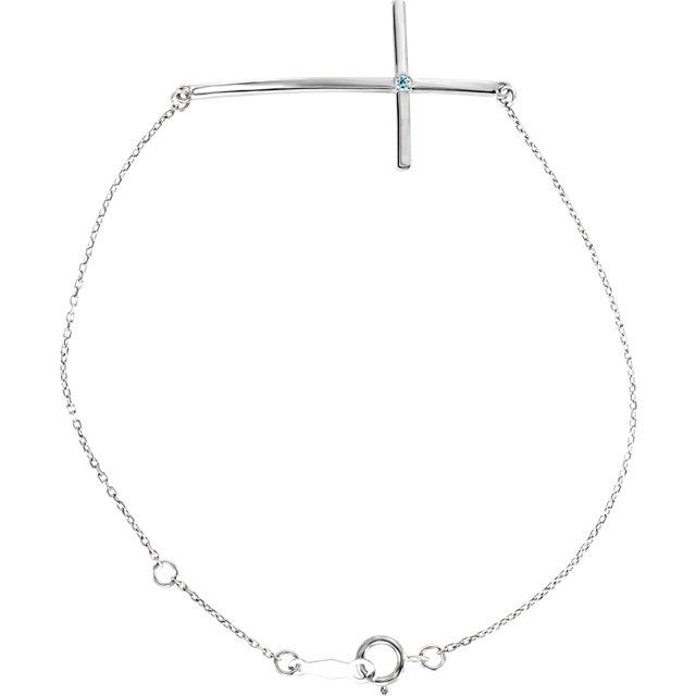 14K White Aquamarine Sideways Cross Bracelet