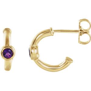 14K Yellow Amethyst J-Hoop Earrings