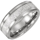 Tungsten Band with Imitation Meteorite Inlay