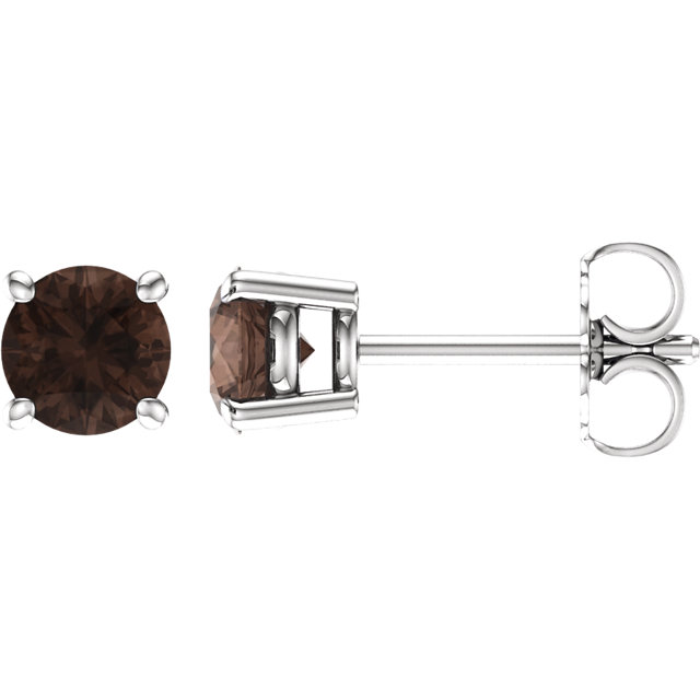 14K White 5 mm Round Smoky Quartz Earrings