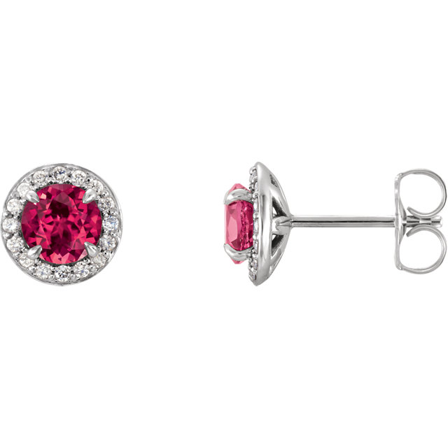 14K White 5 mm Round Chatham® Created Ruby & 1/6 CTW Diamond Earrings