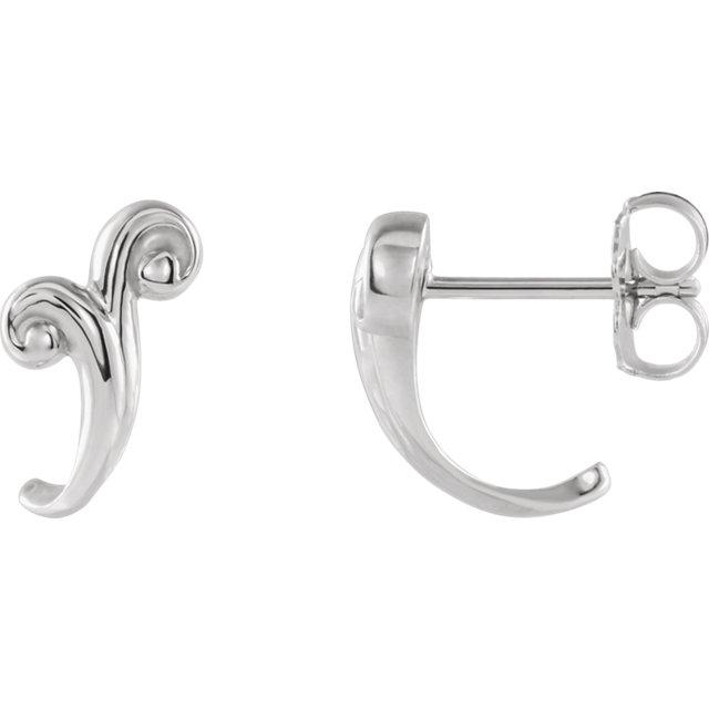 Platinum Freeform J-Hoop Earrings