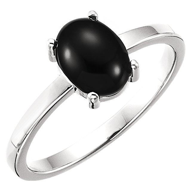 14K White 8x6 mm Oval Onyx Cabochon Ring