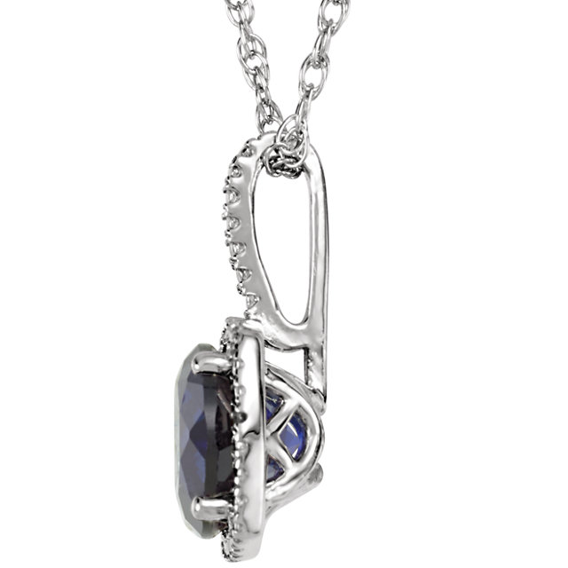 Sterling Silver 7 mm Lab-Grown Sapphire & .015 CTW Diamond 18