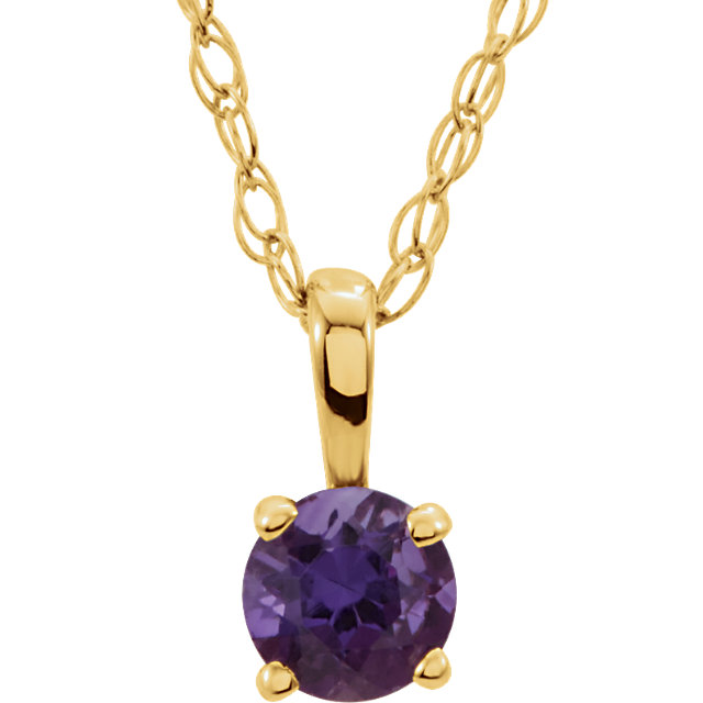 14K Yellow Imitation Amethyst