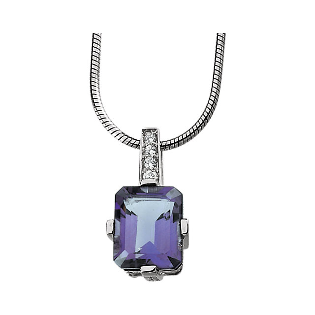 Sterling Silver Amethyst & Cubic Zirconia 18