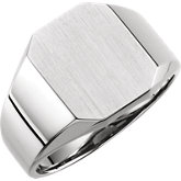 Men's Open Back Octagon Signet Ring with Brush Finish