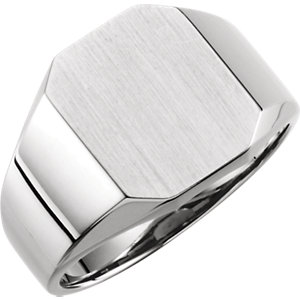 Fashion Rings , 18K X1 White 22x20mm Men's Signet Ring