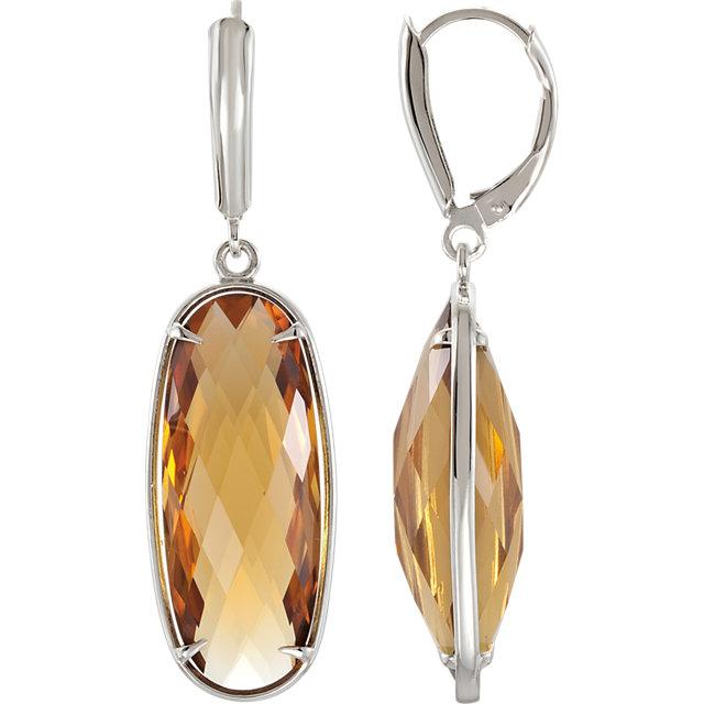 Sterling Silver Honey Quartz Lever Back Earrings
