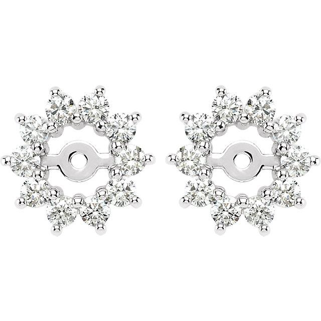 14K White 5/8 CTW Diamond Earring Jackets