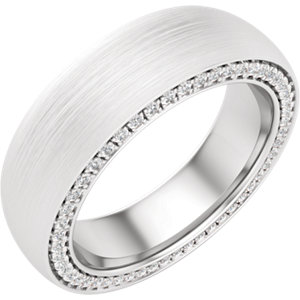 14K White 6 mm 3/4 CTW Diamond Accented Band with Satin Finish Size 10