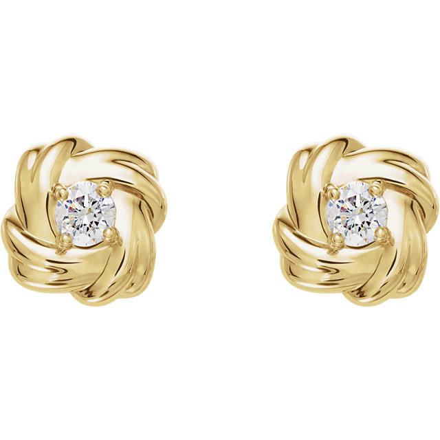 14K Yellow 1/5 CTW Diamond Knot Earrings