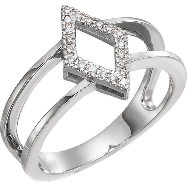 14K White .10 CTW Geometric Diamond Ring
