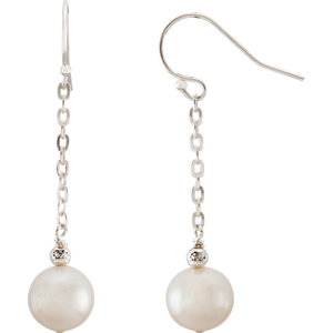 Sterling Silver 8.5-9.5mm White Freshwater Cultured Pearl Dangle Earrings