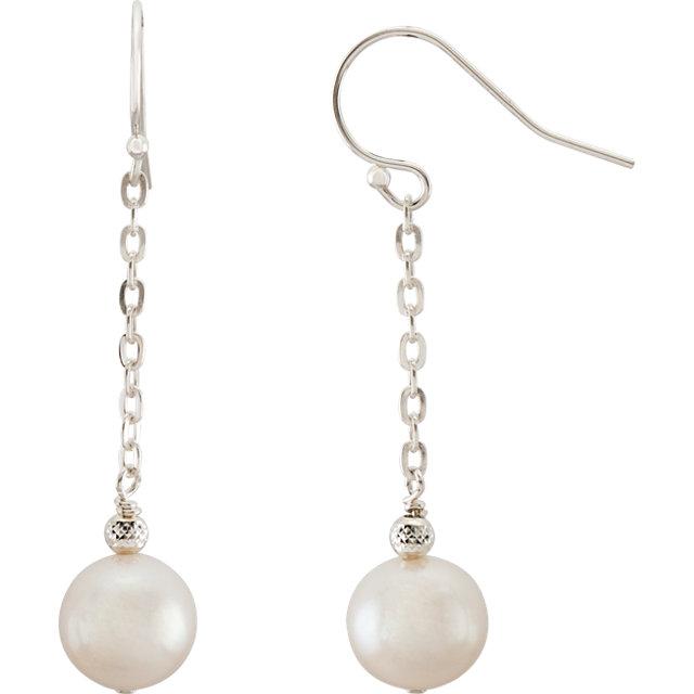 Sterling Silver 8.5-9.5mm White Freshwater Cultured Pearl Dangle Earrings