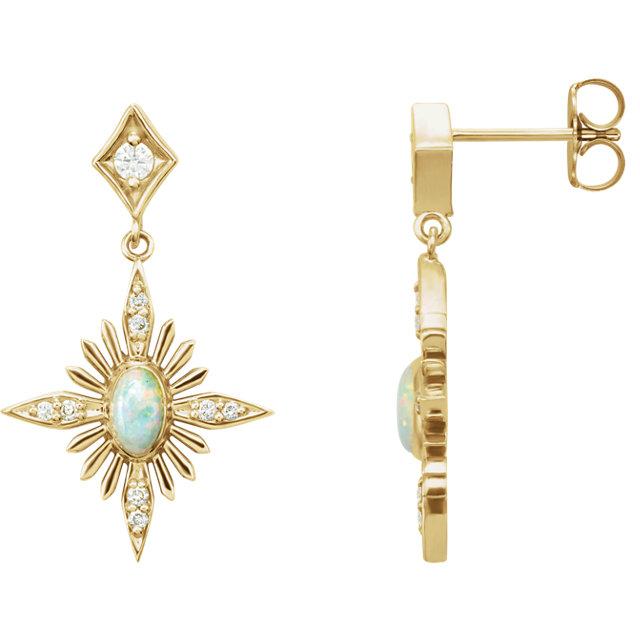 14K Yellow Australian Opal & .05 CTW Diamond Celestial Earrings
