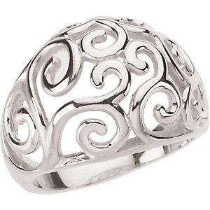 Sterling Silver Metal Fashion Scroll Ring