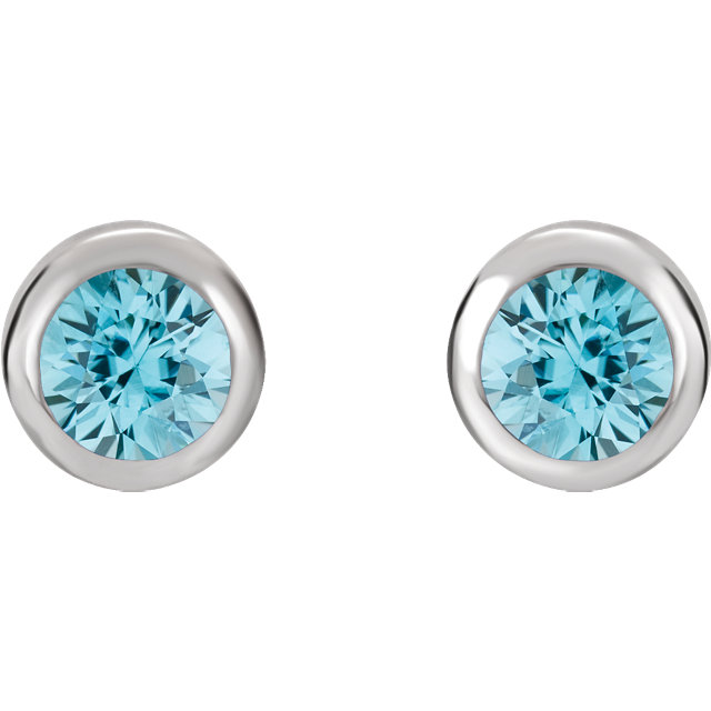 Sterling Silver 4 mm Round Imitation Blue Zircon Birthstone Earrings