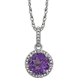 Sterling Silver Amethyst & .01 CTW Diamond 18