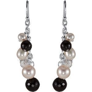 Sterling Silver Crystal & Freshwater Cultured Pearl Earrings