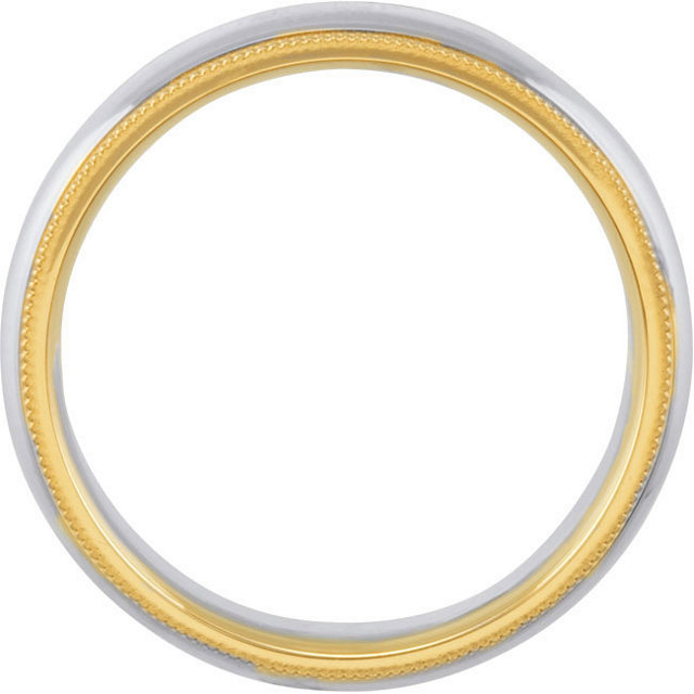 Sterling Silver & 14K Yellow 6 mm Comfort-Fit Band Size 5