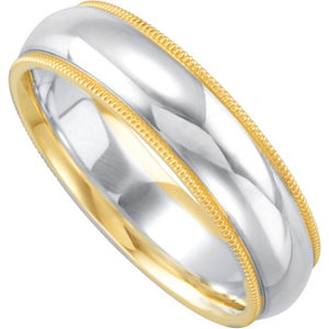 Sterling Silver & 14K Yellow 6mm Comfort-Fit Band Size 5