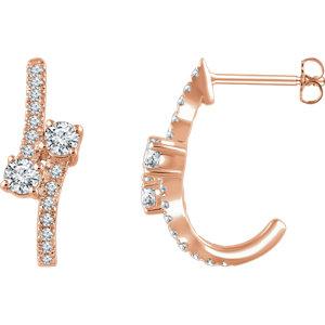 14K Rose 5/8 CTW Diamond Two-Stone Earrings