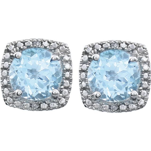 Sterling Silver Sky Blue Topaz & .015 CTW Diamond Earrings