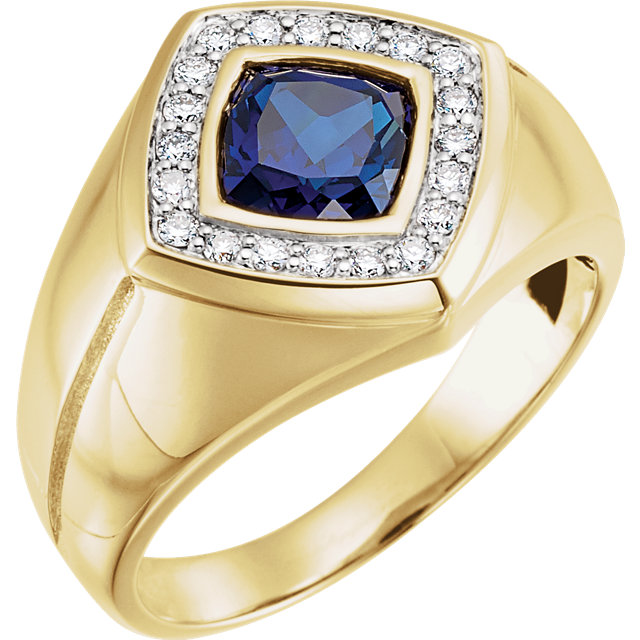 14K Yellow Men-s Created Blue Sapphire & .025 CTW Diamond Ring