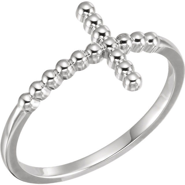 Continuum Sterling Silver Beaded Sideways Cross Ring