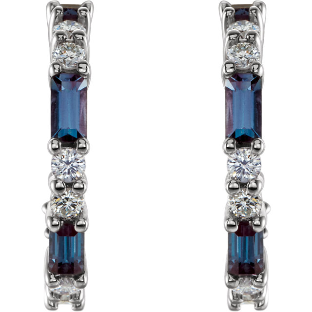 14K White Chatham® Created Alexandrite & 1/2 CTW Diamond Earrings