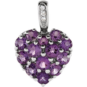 14K White Amethyst & .01 CTW Diamond Heart Pendant